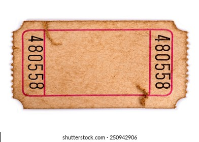 Old ticket : torn blank movie or raffle ticket isolated on white.