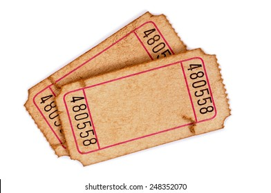 Old ticket : vintage torn blank movie or raffle tickets isolated on white.