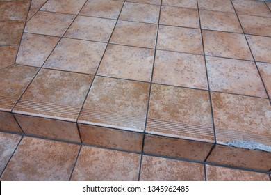 Old tile stair floor