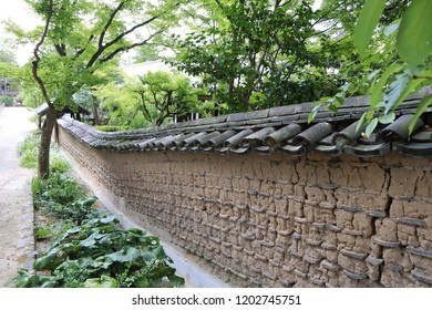 An old tile-roofed mud wall at Temple