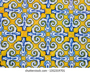 Old tiles made of Valencian ceramics, on the facade of the Central Market of Valencia, Spain