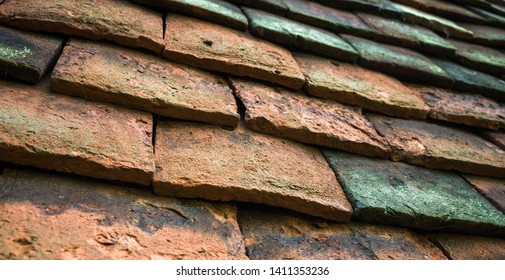 Old tiles on a Victorian house.