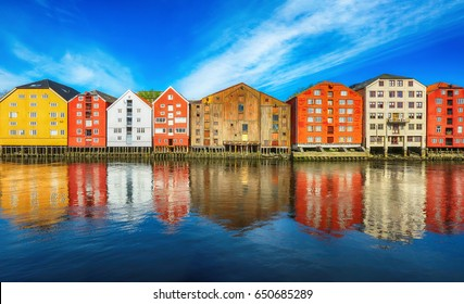 Old timber buildings located along the river Nidelva in the historical center of Trondheim, Norway.