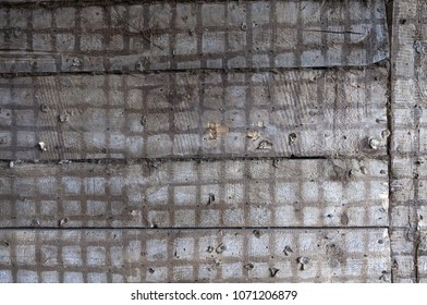 Old timber wall after removing plaster and  plaster shinges. Closeup, daylight.