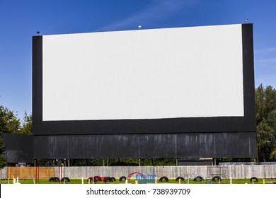 Old Time Drive-In Movie Theater with blank white screen for copy space or advertising I