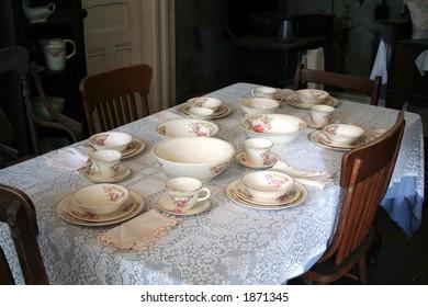 old time family dinner setting