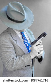 Old Time Gangster with Fedora and Gun