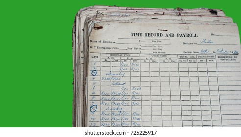 Old Time Record and Payroll in an archived with dust dated 1976.