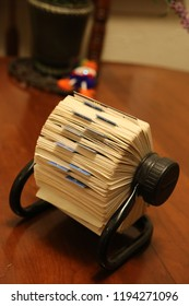 An old time Rolodex containing contact information for personal and business relationships