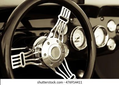 Old timer classic car dashboard