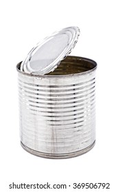 Old tin can for food on white background