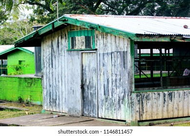 An old tin shed in a school in the Central Province, Papua New Guinea.