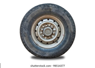 Old tire isolated on white background