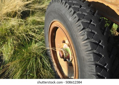 Old tire on the trailer