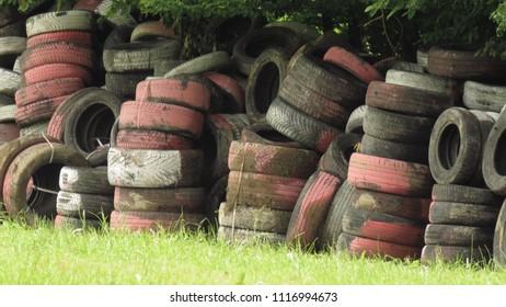 old tires in junkyard