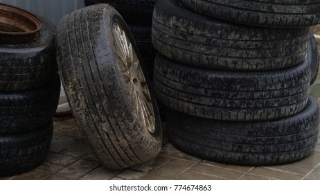 old tires in stack
