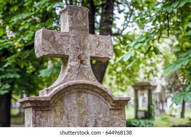Old tombstones at the cemetery in Budapest, Hungary.