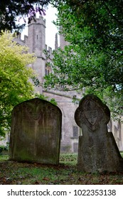 Old tombstones in a church cemetery