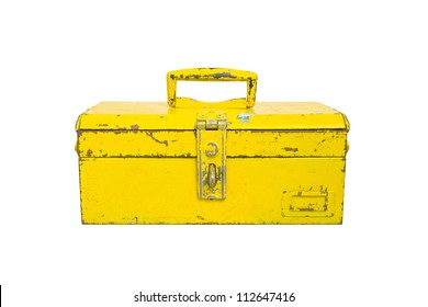 Old tool box isolate on white background