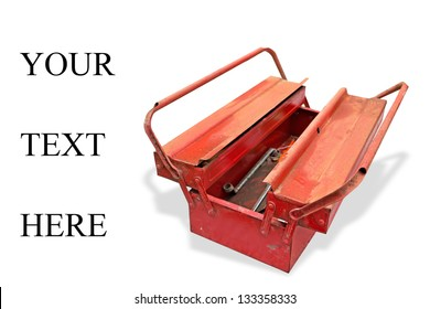 """old tool box on white with """"your text here"""" writing"""