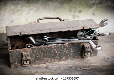 Old Tools Box with wrench on wooden desk