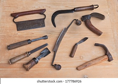 old tools of carpentry for carving, smoothing or cutting wood - ancient woodworking hand tools to cut, carve, smooth