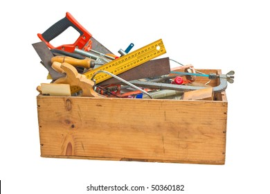 old tools in wooden box isolated on white, with clipping path