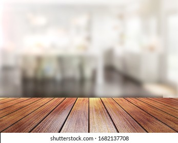 Old Top Wood Table with Blur Background