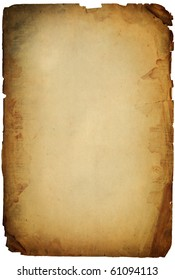 old torn grunge paper sheet isolated on white
