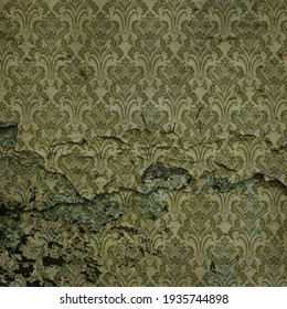Old, torn paper with a green pattern. Wallpaper with floral patterns. Green background.