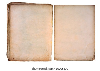 Old torned book open on both blank shabby pages.
