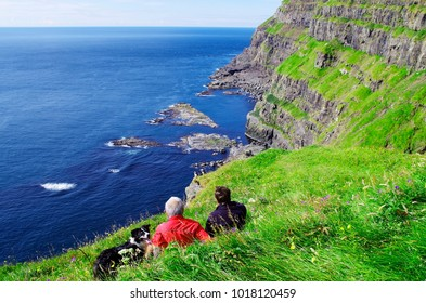 old Tourists watching of Puffin with dog, Latrabjarg Cliff, Iceland. Faroe islands