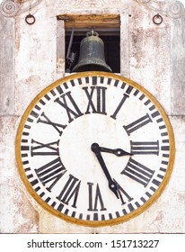 old tower clock and bell