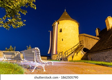 Old tower Zazvorka at night with bench, castle Nove Mesto nad Metuji , Czechia - Shutterstock ID 1862505790