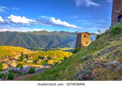 Old towers in Omalo, Tusheti national park, Georgia