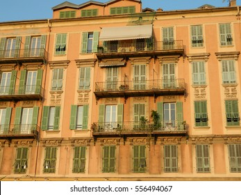Old town architecture of Nice on French Riviera at sunset
