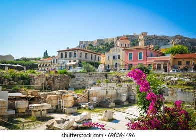 The old town of Athens, Greece as seen from Hadrian's Library