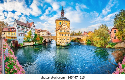 Old town Bamberg in Bavaria, Germany. Romantic  historical town on Romantic road in Bavaria,  located on crossing of Regnitz and Main rivers. Autumn view of old Timber Framing architecture and flowers