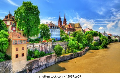 Old town of Basel with the cathedral above the Rhine river - Switzerland