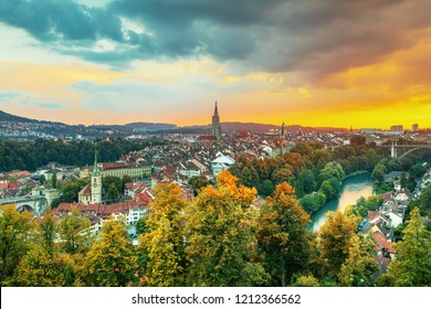 Old Town of Bern, capital of Switzerland, covered with colorful sunset.