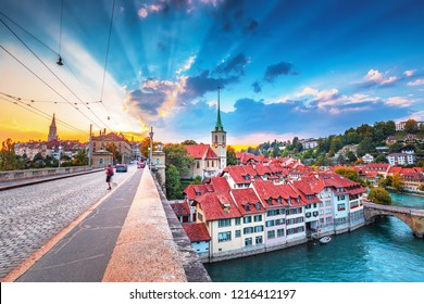 Old Town of Bern, capital of Switzerland, covered with colorful sunrise.