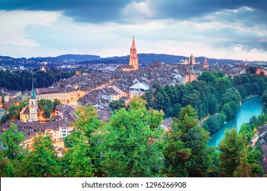 Old Town of Bern, capital of Switzerland, covered with sunrise.