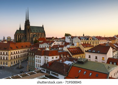 Old town of Brno as seen from the town hall tower.