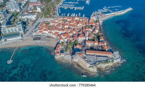 Old Town Budva. Aerial view from sky