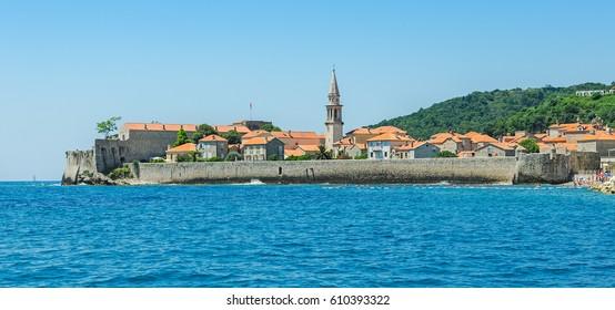 Old town of Budva, Montenegro. Balkans, Adriatic sea, Europe