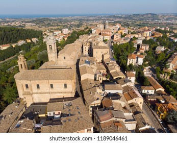 Old town of Castelfidardo, in the province of Ancona, in the Marche region. Aerial view.