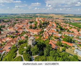 Old town, castle and powder tower in Mikulov from above, Mikulov, Czech Republic