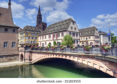 Old town and Cathedral of Our Lady (Notre Dame) of Strasbourg in Alsace. The historic center, including the cathedral, of Strasbourg is UNESCO World Heritage Site, France