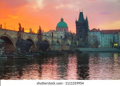 The Old Town with Charles bridge in Prague in the morning