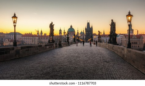 The Old Town with Charles bridge in Prague early in the morning